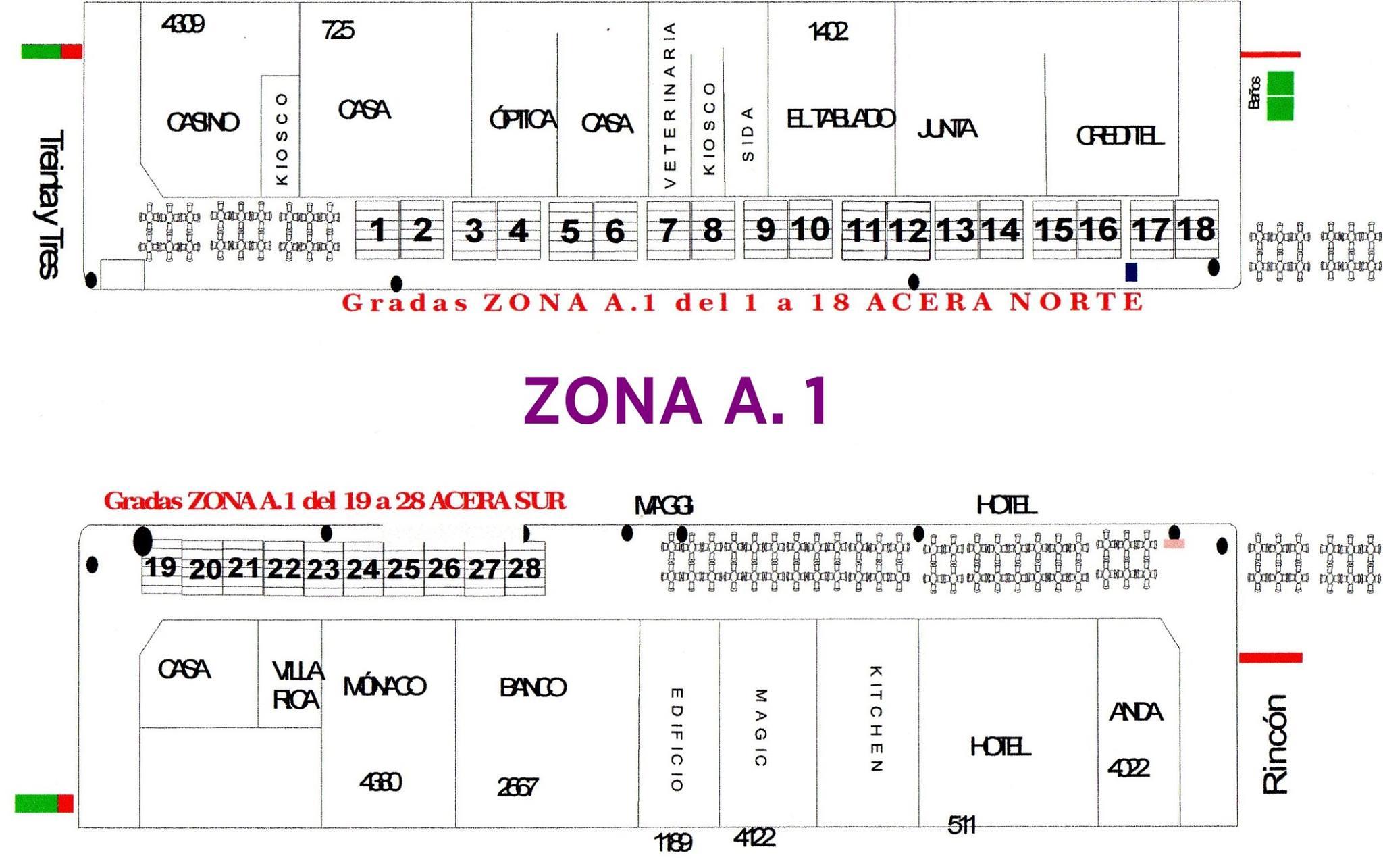 Mapa de ubicaciones para compra de entradas en Zona A